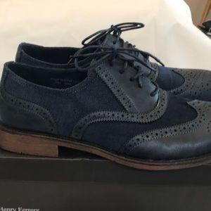 Navy Blue Canvas Wingtip Shoes Sz. 10